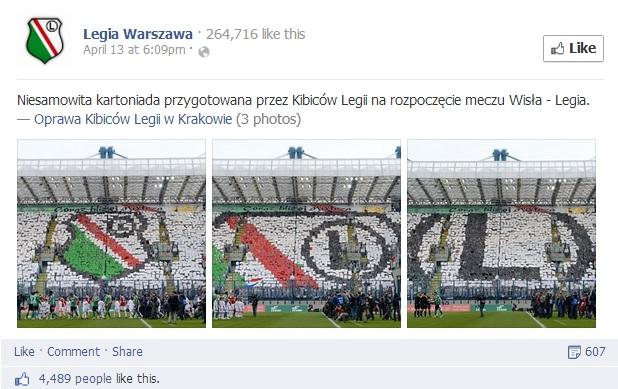 Kartoniada przygotowana przez Kibiców Legii na rozpoczęcie meczu Wisła - Legia