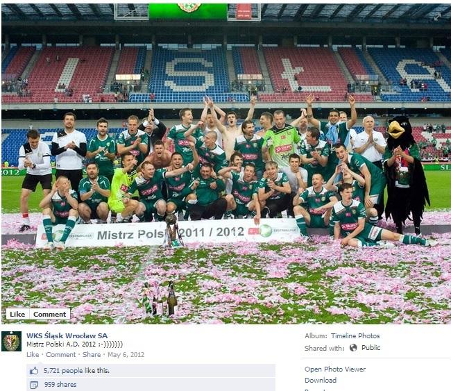 Informacja na profilu Śląska Wrocław o zdobyciu Mistrza Polski w 2012