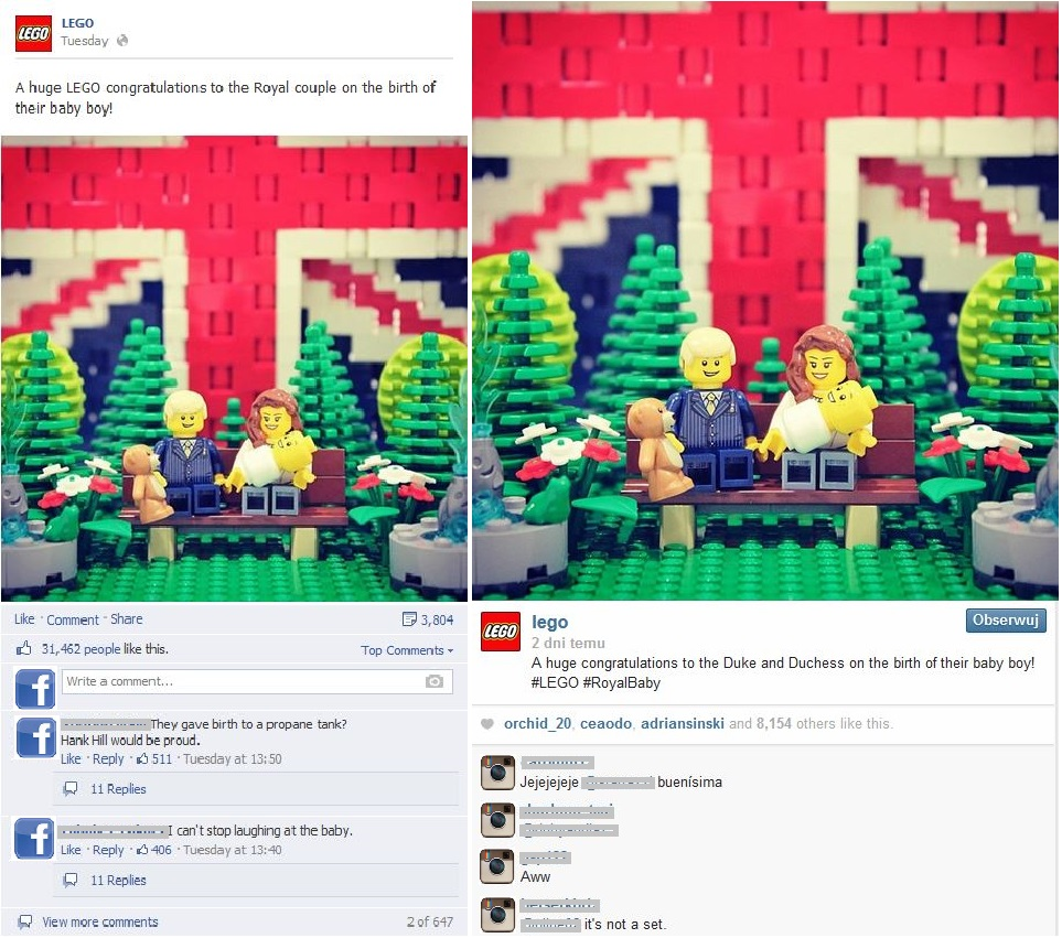 Figure 3: The posts of Lego on Facebook and Instagram