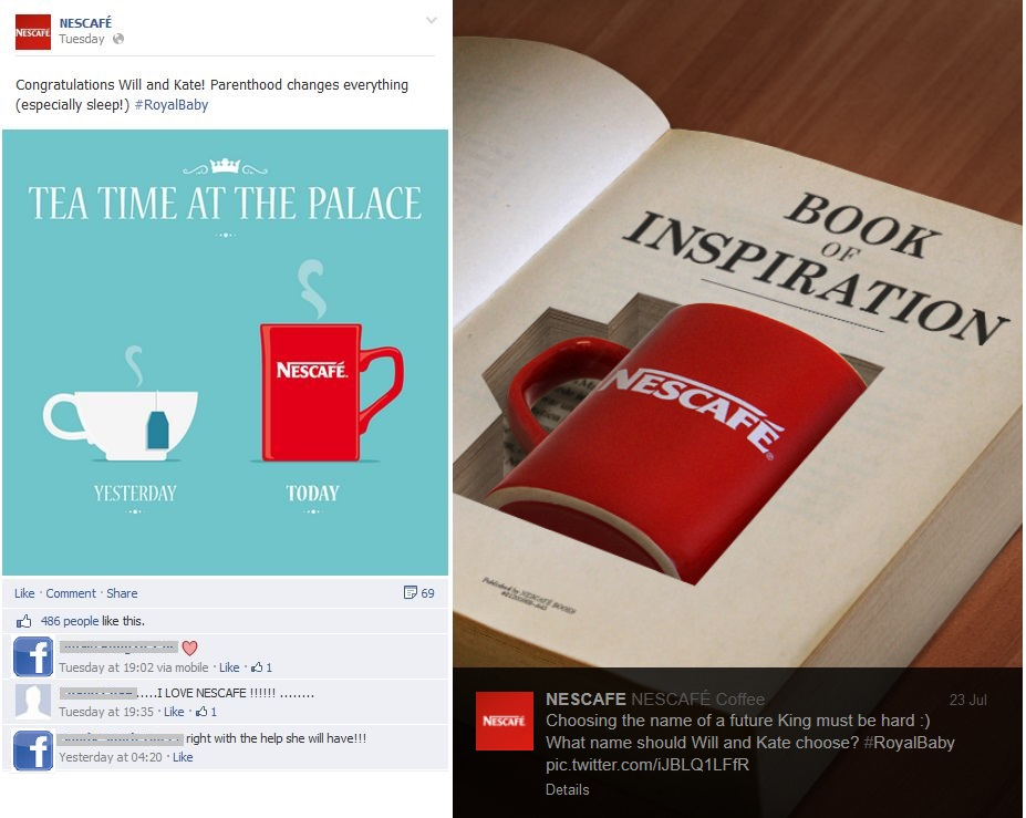 Figure 8: The posts of Nescafe on Facebook and Twitter