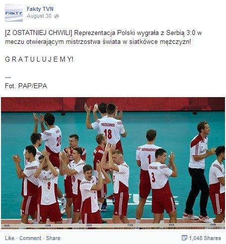 Post Faktów TVN o zwycięstwie polskiej reprezentacji nad Serbami