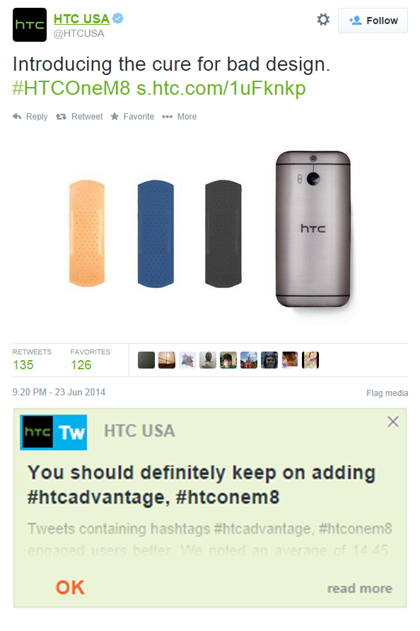 Hashtags used by HTC