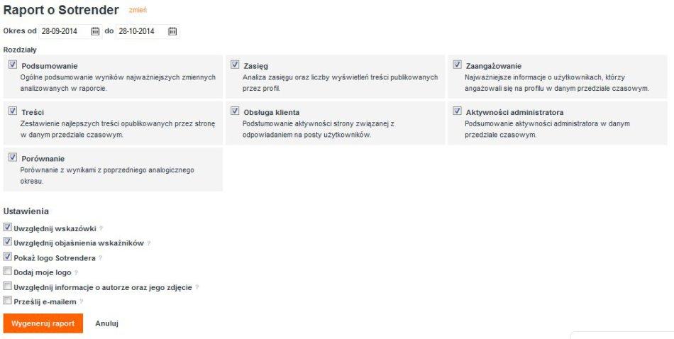 Automatyczne raporty Sotrendera - wybór rozdziałów