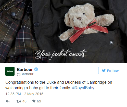 Barbour's reaction to the birth of the Royal Baby Girl