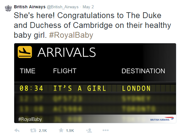 British Airway's reaction to the birth of the Royal Baby Girl