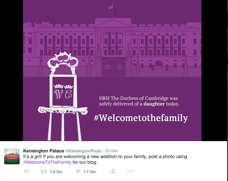 Kensington Palace's announcement of the birth of the Royal Babt Girl - Sotrender