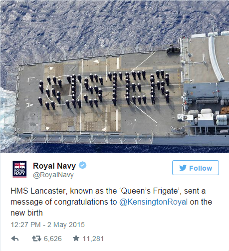 Royal Navy's reaction to the birth of the Royal Baby Girl