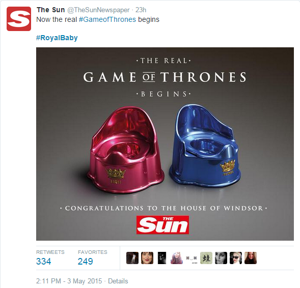 The Sun's reaction to the birth of the Royal Baby Girl