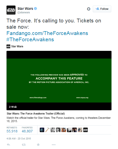 Sotrender Blog Star Wars Trailer tweet