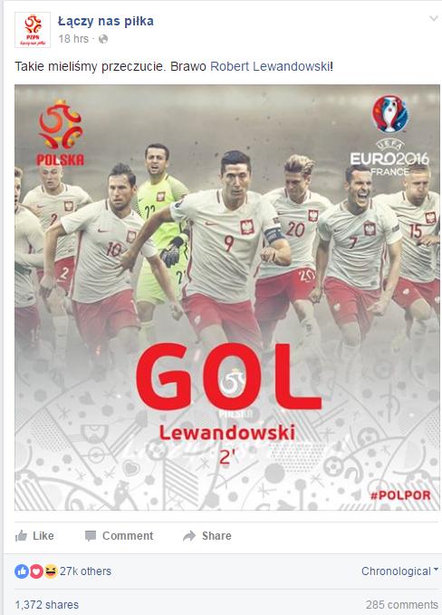 Post oficjalnego profilu reprezentacji Polski