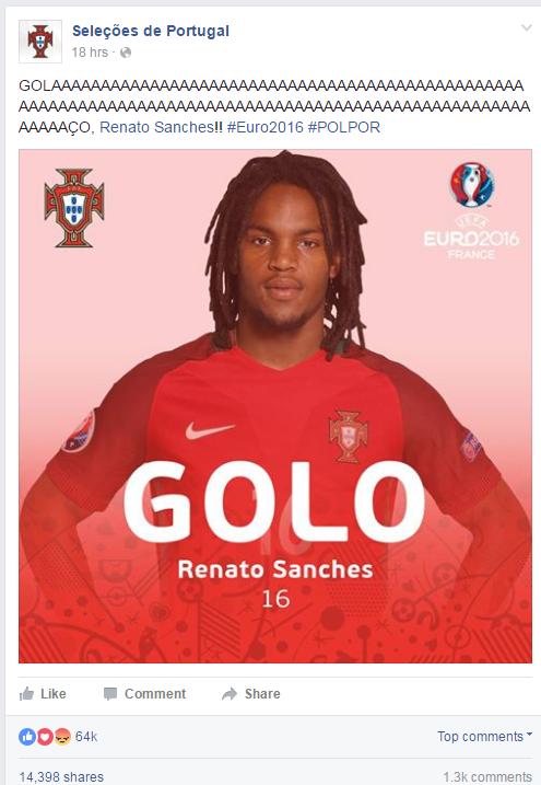 Post oficjalnego profilu reprezentacji Portugalii