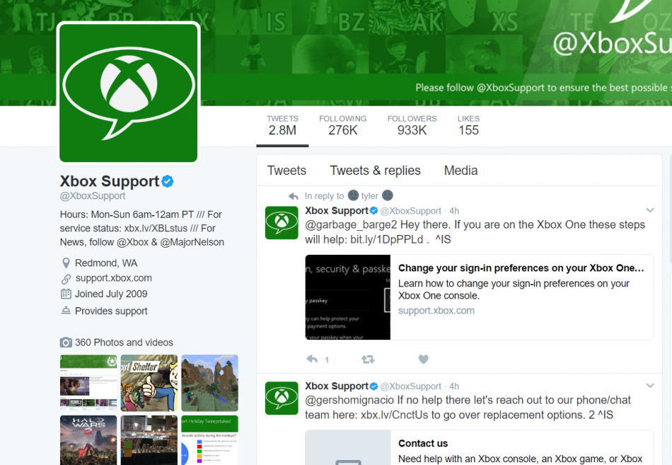 Customer service and social media - xbox