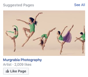 Sugerowane Strony wyświetlane w prawej kolumnie Facebooka.