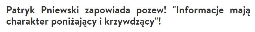 Nagłówek z portalu party.pl dotyczący Patryka Pniewskiego.