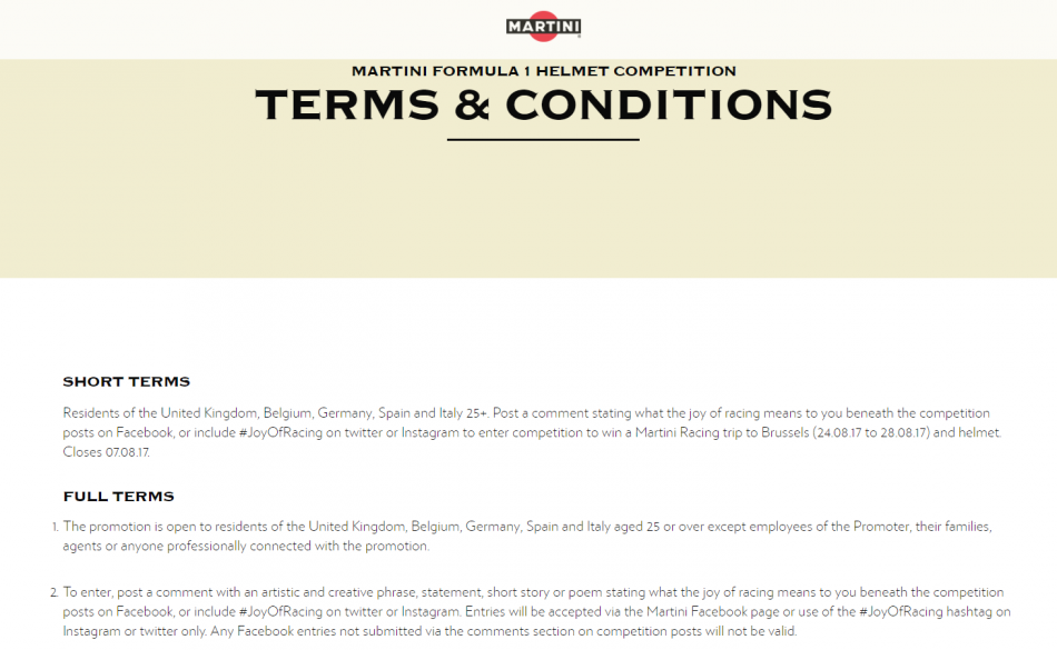 Martini published Terms & Conditions of an Instagram Contest on their www.