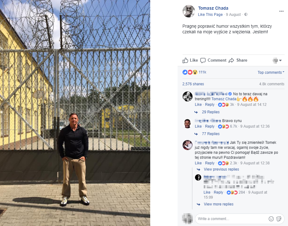 tomasz chada, więzienie, wyjście na wolność, post, faceboook
