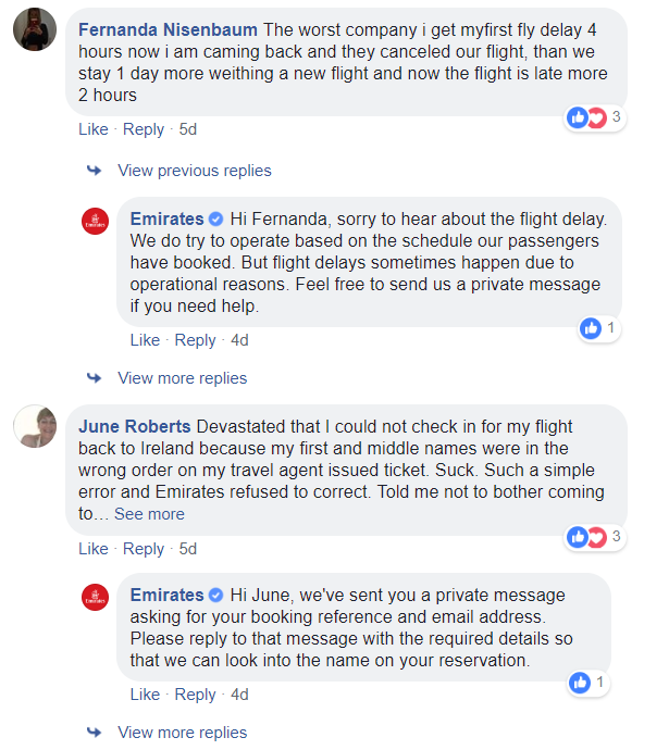 How Emirates airlines responde to users' comments on Facebook