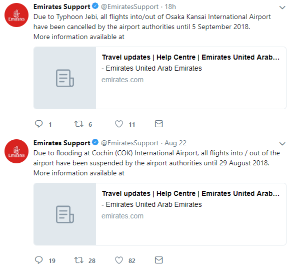 Emirates Support profile on Twitter