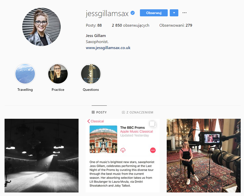 Instagram profile of Jess Gillam, saxophonist
