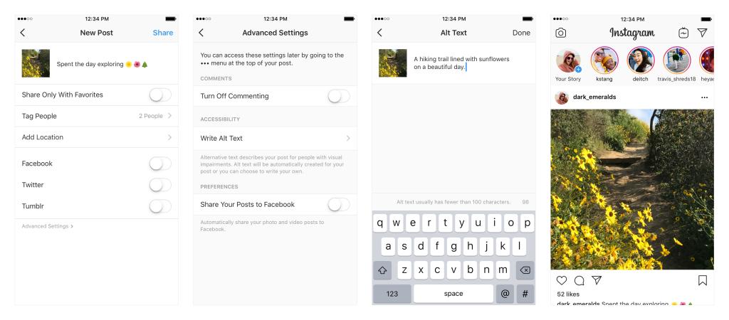 Instagram dla niedowidzących i niewidomych