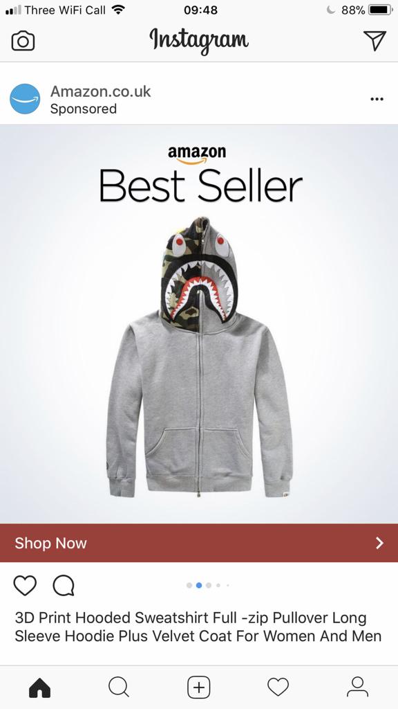 Shop now option on Instagram