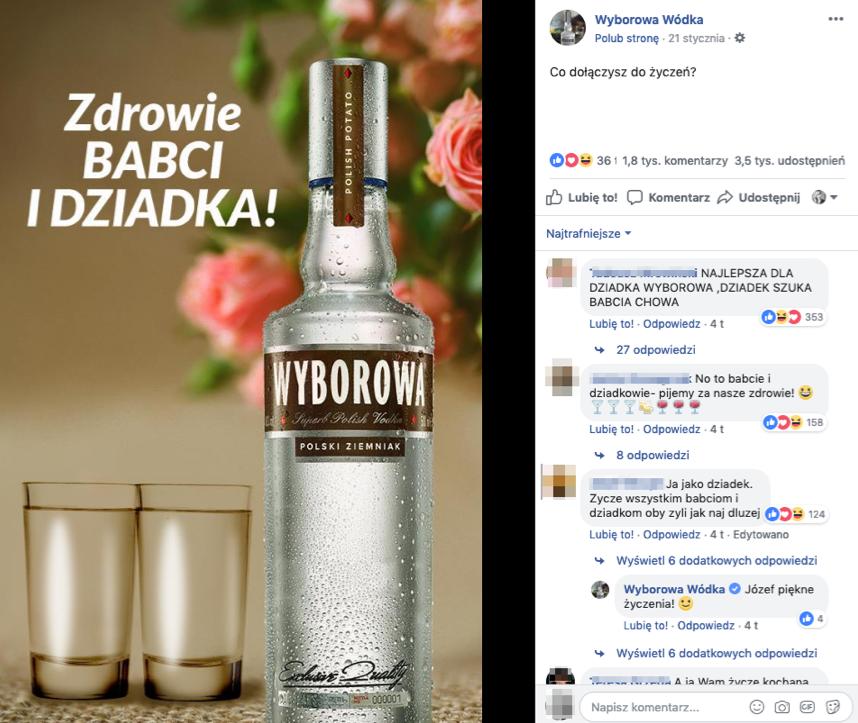 Post na profilu marki Wyborowa z okazji Dnia Babci i Dziadka