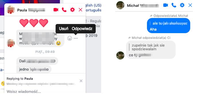 Funkcja 'odpowiedz na wiadomość' na Messengerze