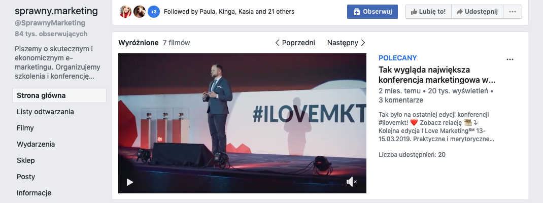 Nowy format Strony na Facebooku - Video Page