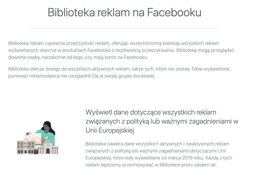 Biblioteka reklam na Facebooku w Unii Europejskiej
