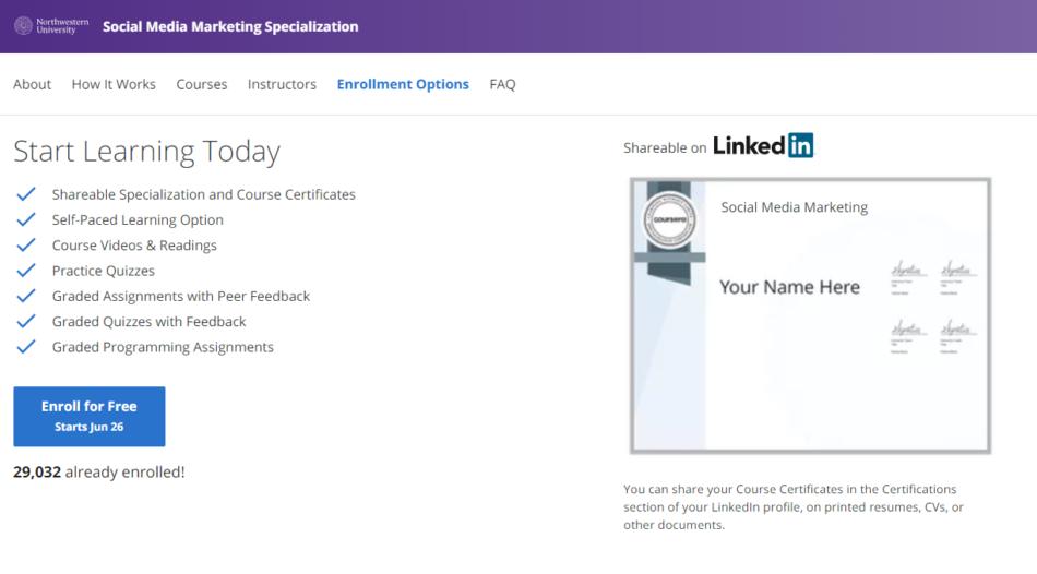 coursera social media specialization