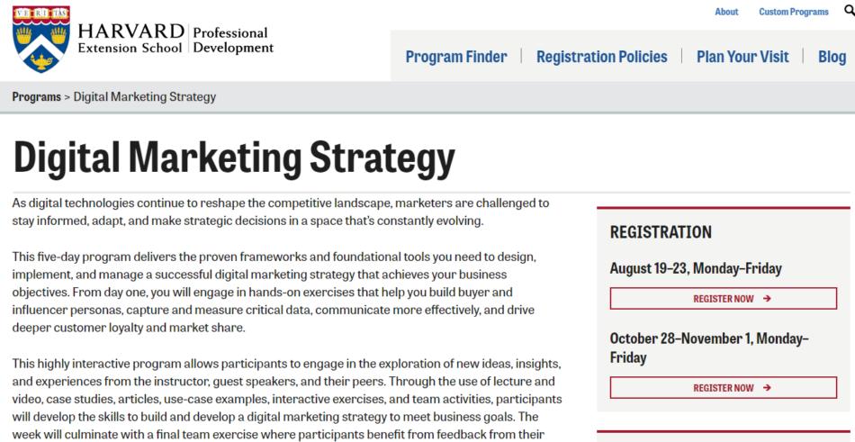harvard marketing certification