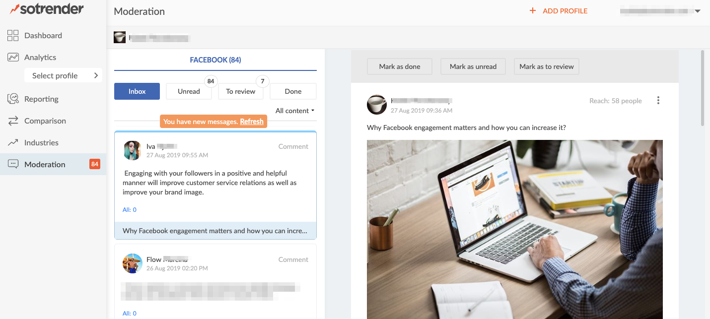 facebook moderation and social inbox