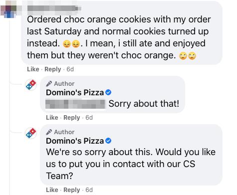 domino's pizza social customer service on facebook