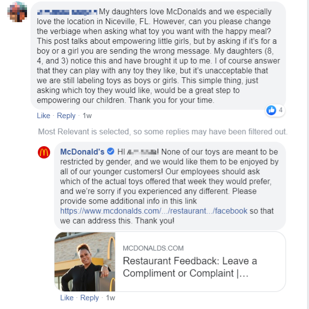 mcdonald's providing social customer service on facebook