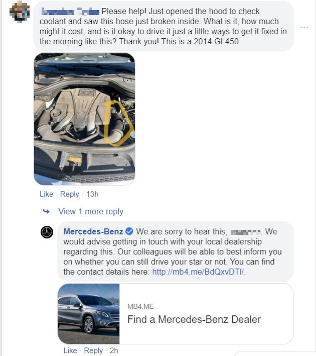 mercedez benz social customer service on facebook