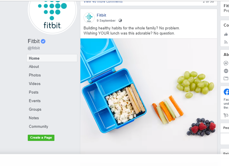 Fitbit Facebook Page community engagement post