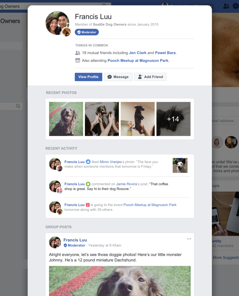 Facebook member profile preview