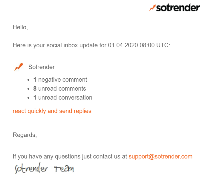 Email notification about Facebook comments from Sotrender