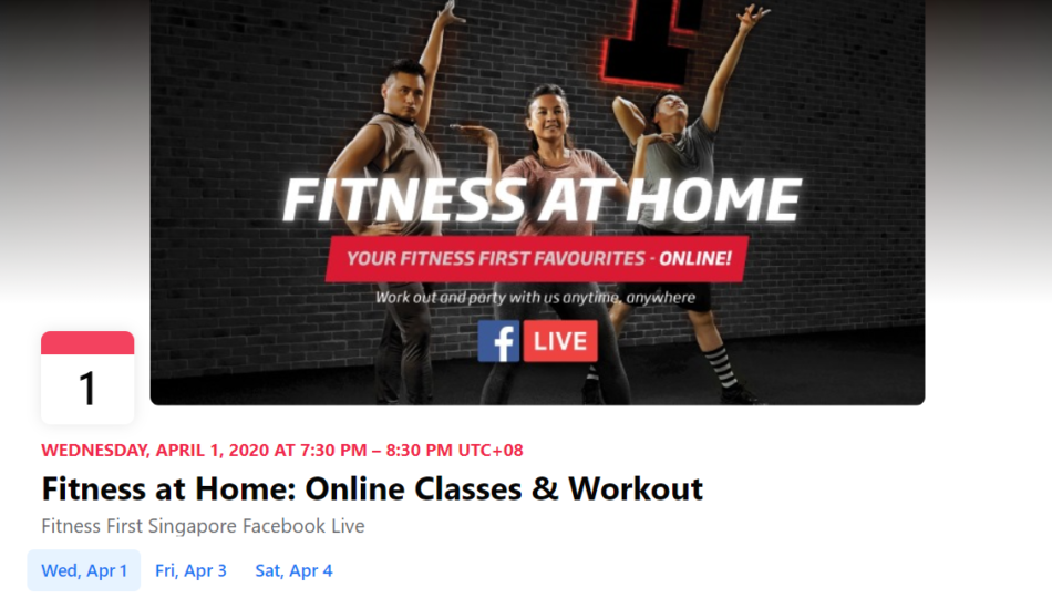 Online fitness classes on Facebook Live