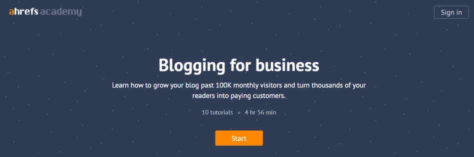 Ahrefs Blogging for Business course
