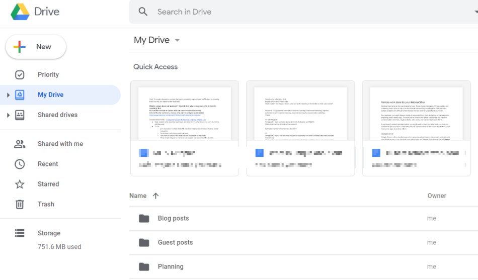 Google Drive overview of the main page