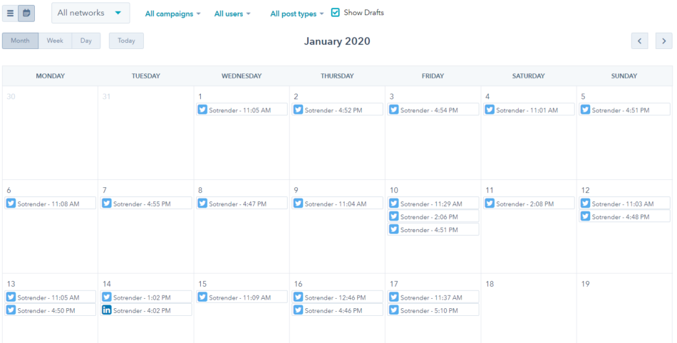 social media content calendar using hubspot