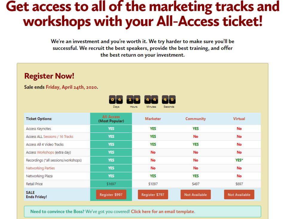 Social Media Marketing World workshop registration page