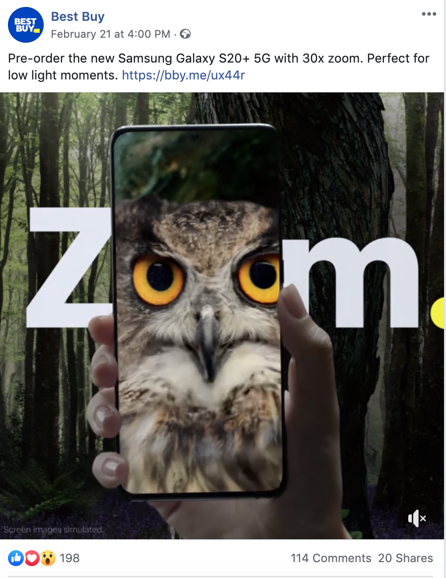 Best Buy's Samsung Galaxy S20+ ad on Facebook
