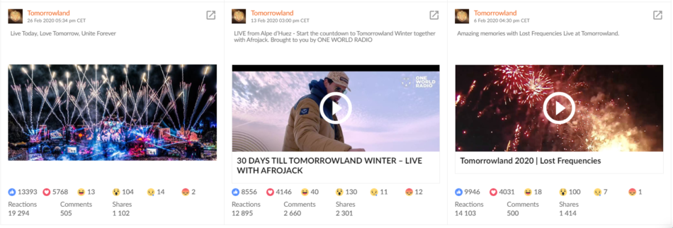 Tomorrowland Facebook top performing posts in Sotrender
