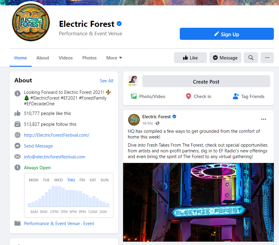 Electric Forest Facebook page