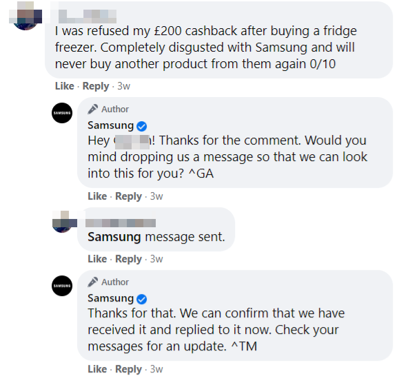 Angry customer on Samsung's Facebook Page