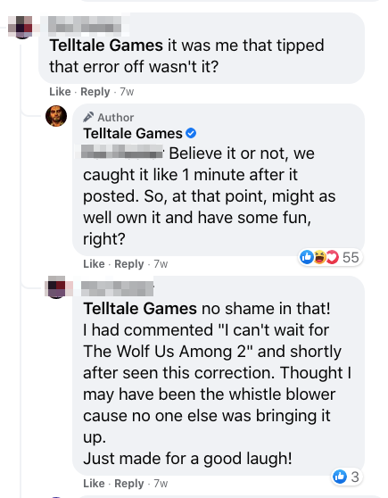 telltale games facebook community