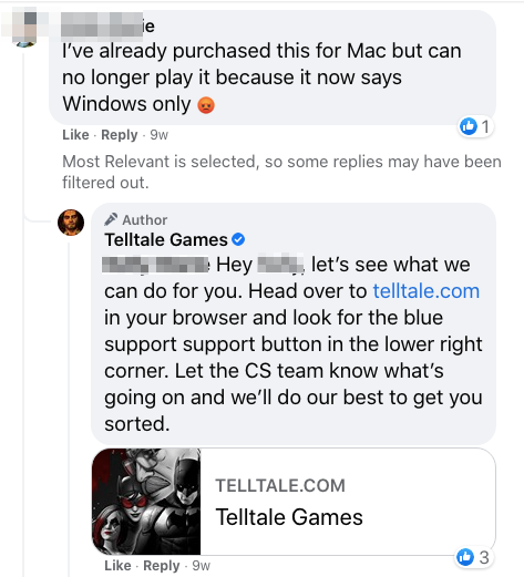 telltale game facebook page customer support