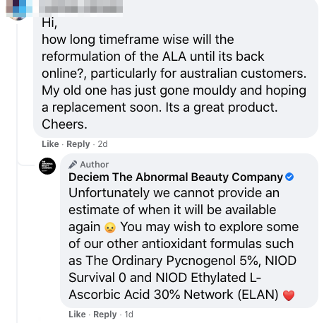 social customer service on facebook by deciem